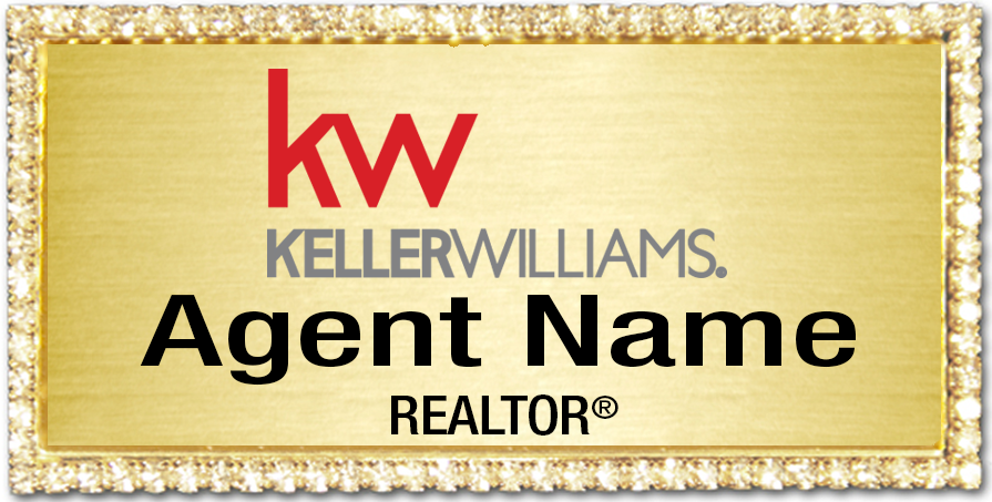 Name Badge Gold with Bling Gold Background – FREE SHIPPING!