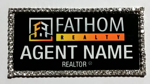 Fathom Silver Bling Name Badge Free Shipping
