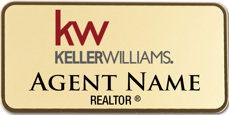 KW Gold Name Badge 1 5 x 3 – FREE SHIPPING!