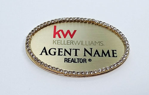Name Badge Gold Oval with Bling – FREE SHIPPING!
