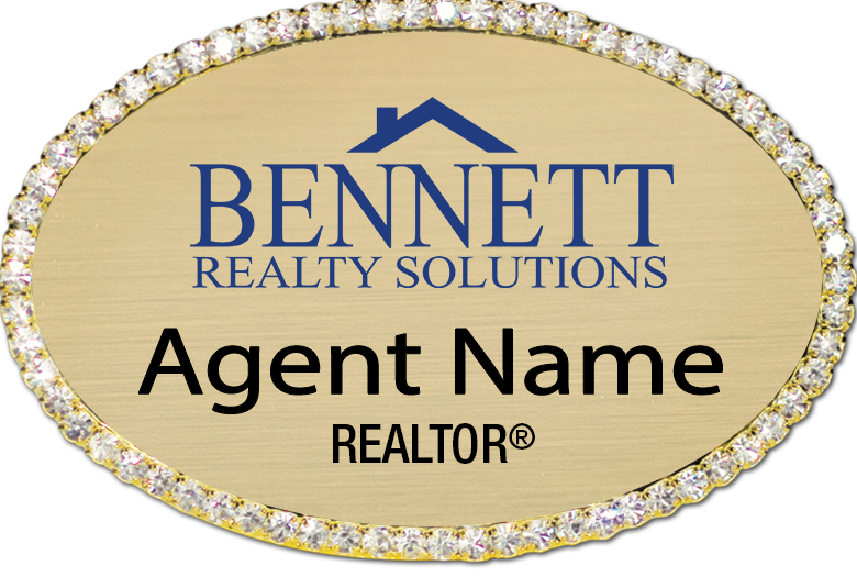 Name Badge Gold Oval Bling - Bennett Realty Solutions – FREE SHIPPING!